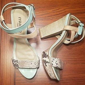 Miucha Mint Leather & Snake Print Heels 8/39